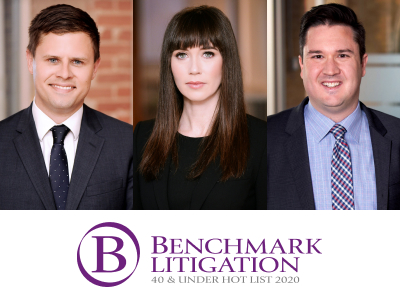 Michael Byers, Kate McGrann and Clarke Tedesco named to Benchmark Litigation 40 & Under Hot List